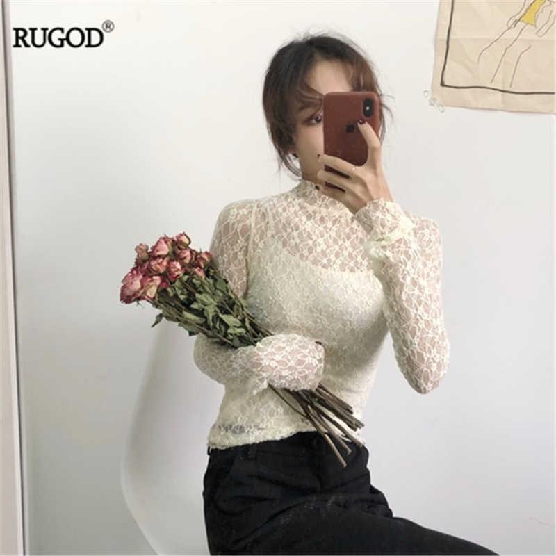 RUGOD/Новинка 2019 года, женский осенний свитер или кружевная рубашка, милая, на шнуровке, с двумя боковыми носками, Свободный пуловер, свитер, Модная Тонкая футболка с подкладкой