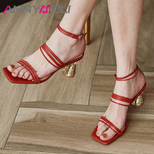 ANNYMOLI Ankle Strap Genuine Leather High Heel Shoes Narrow Band Women Sandals Square Toe Strange Style Heels Sandals Size 40 2020 new superstar genuine leather pointed toe ankle strap square heel women sandals high heels slingback summer party shoes