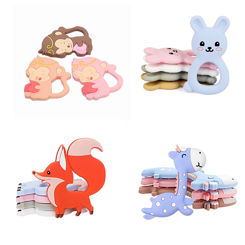 1PC NEW Cartoon Baby Teether Animal Shape Rodent Pacifier Pendant Baby Teething Toys Infant Chewing Toddler Toys Newborn Gift