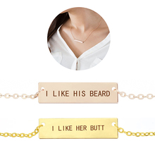 I Like His Beard I Like Her Butt Love Letters Engraved Couples Necklace Long Chain Bar Necklace Pendant Valentines Gifts r m stults i love her all day long