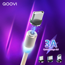 Magnetic USB Cable LED 3A Fast Charging Micro USB Type C Cable Charge Data Cord Mobile phone Charger For Iphone 11 XR XS X 8 7 6 magnetic adsorption usb charging cable micro type c lighting for iphone x fast charge charger cord for xiaomi mobile phone cable