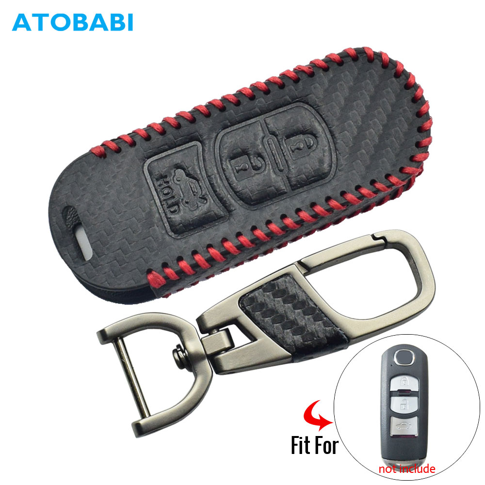 Carbon Leather Car Key Cover For Mazda 2 3 6 CX-5 CX-7 Smart Remote Control Fob Case Keychain Holder Protector 3 Buttons Key Bag image