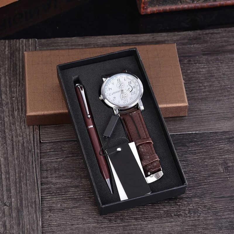 Модные Повседневные часы + Шариковая ручка подарочный набор для мужчин Роскошные Бизнес наручные часы подарки на день рождения для мужчин отец Reloj