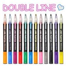 Marker-Pen Painting Album Glitter Scrapbooking Double-Line-Pen Drawing Metal Doodling