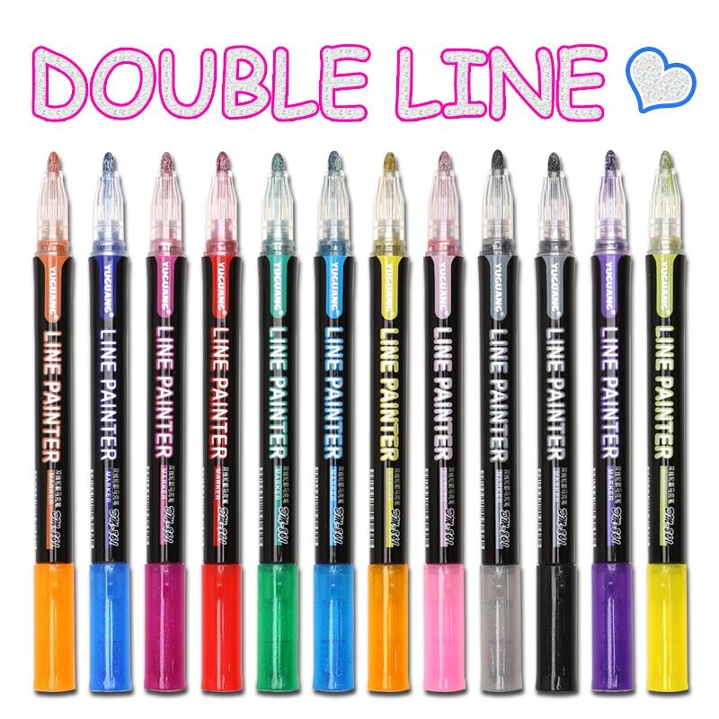 8 /12 Pcs/set Outline Paint Marker Pen Double Line Pen Diy Album Scrapbooking Metal Marker Glitter for Drawing Painting Doodling