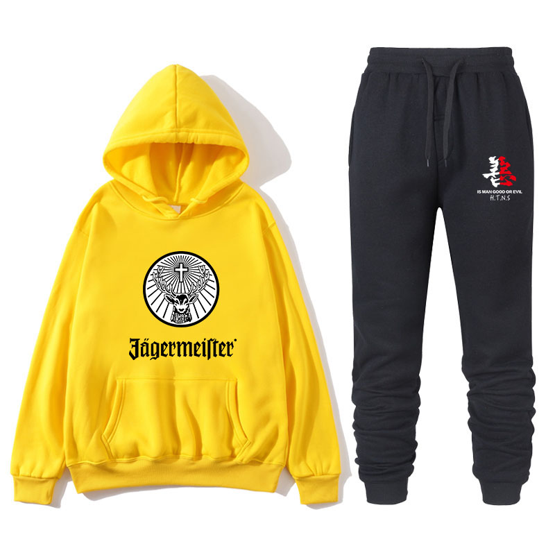 Jagermeister Men Two Pieces Set Fashion Hooded Sweatshirts Sportswear Men Tracksuit Hoodie Men Brand Clothes Hoodies Pants Sets