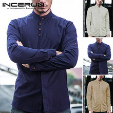 INCERUN Spring Fashion Men Shirts Stand Collar Solid Long Sleeve Streetwear Men Business Brand Shirts Cotton Chemise Tops 2020 2019 hot sale spring women shirts tops long sleeve bow collar solid ladies chiffon blouse tops ol office style chemise femme