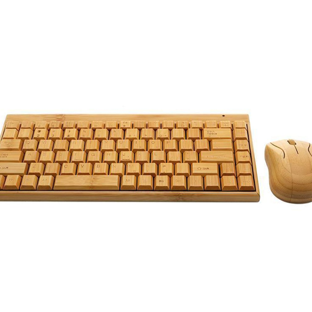 4G Bamboo Wireless Keyboard And Mouse Combo Natural Wood Handmade Computer Keyboard Plug And Play For Home Office Use
