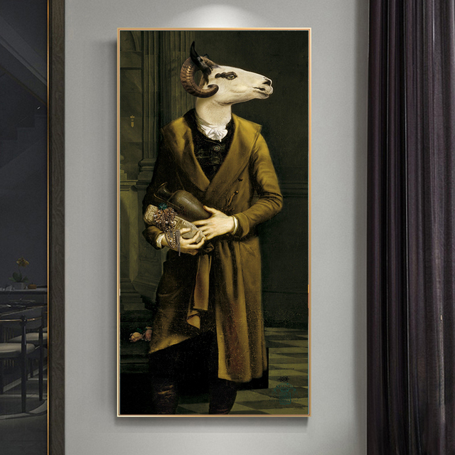 Countess of Goats Fun Classical Paintings Printed on Canvas 1