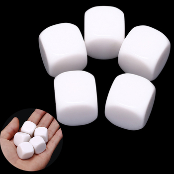 5Pcs/Lot 20mm Blank Dice White Rounded Corner D6 Can Write White Blank Dice Creative Children Teching DIY Dice Set image