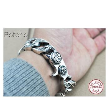 2018Cool Men's Bracelet 100% Genuine 925 Sterling Silver Jewelry Punk Men's Bracelet Men Fashion bracelet bracelet men's jewelry