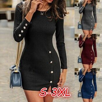 Short Women Dress Long Sleeve 2019 Autumn Winter Sexy Bodycon Mini Dress With Button Slit Plus Size Ladies Casual Black Dress 5