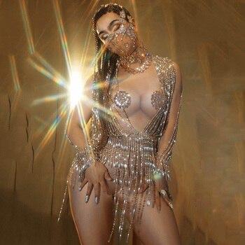 Body de cadena brillante con cuentas, disfraz de actuación desnudo sexi con diamantes de imitación, fiesta lujosa de baile escenario, Atuendo para celebración de cumpleaños