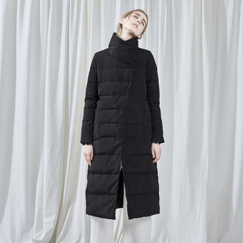 2019 nieuwe mode vrouwen parka warme winter vrouwelijke jassen rits stand kraag dames overjassen solid black