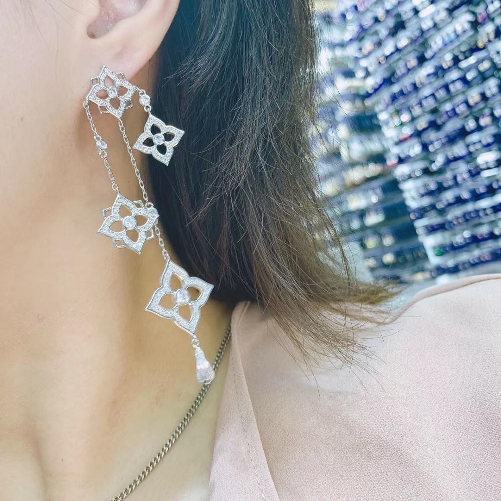 Trendy Luxury Long Tassels Dangle Earrings For Women Wedding Cubic Zircon Crystal African Dubai Bridal Earring E10060