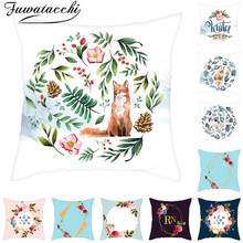Fuwatacchi Garland Pattern Pillow Covers Merry Christmas Gift Cushion Cover for Home Sofa Decorative Throw Pillowcase 45*45cm