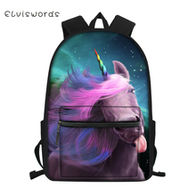 ELVISWORDS Childrens Little Canvas Backpack Fantasy Unicorn Horse Pattern Students School Bags Kids Fashion Travel Backpacks
