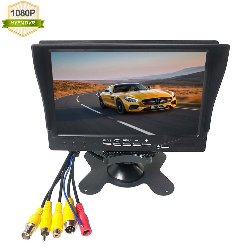 HYFMDVR Direct sales spot 8-32V 7 inch Car Monitor Bus Screen Monitor With sun visor image