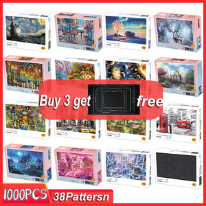 MINI Jigsaw puzzles 1000 pieces wooden Assembling picture Landscape puzzle toys for adults childrens kids games educational Toy(China)