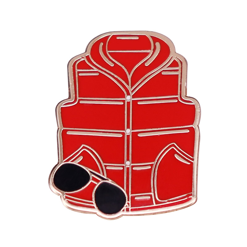 Back To The Future Marty McFly Costume Badge Red Vest and Sunglasses Enamel Lapel Pin Time Travel Sci-fi Movie Fans Gift