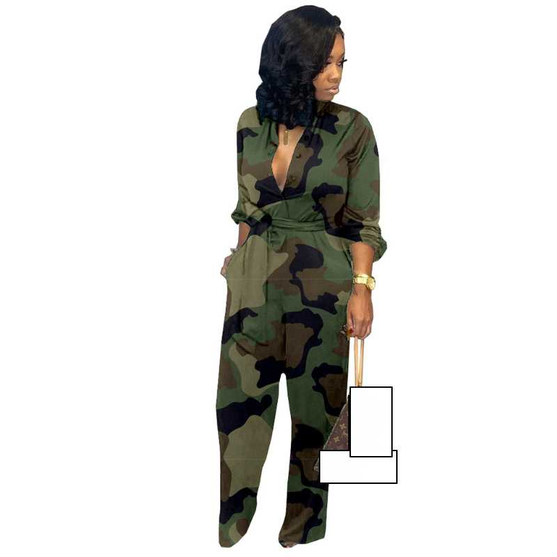 2019 Autumn Camouflage Printed Jumpsuits And Rompers For Women Loose With Sashes Palazzo Pants Bib Overalls Sexy Casual Pockets