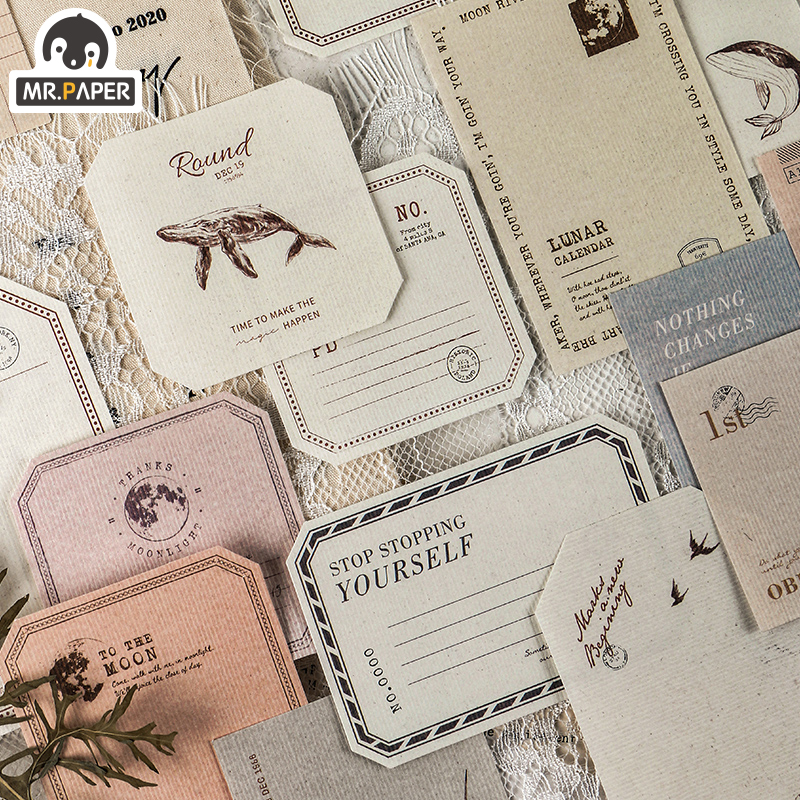 Mr.Paper 15pcs Classical Letters Loose Leaf Memo Pads Minimalist Write Down Points Motor Decal Refrigerator Styling Deco Office