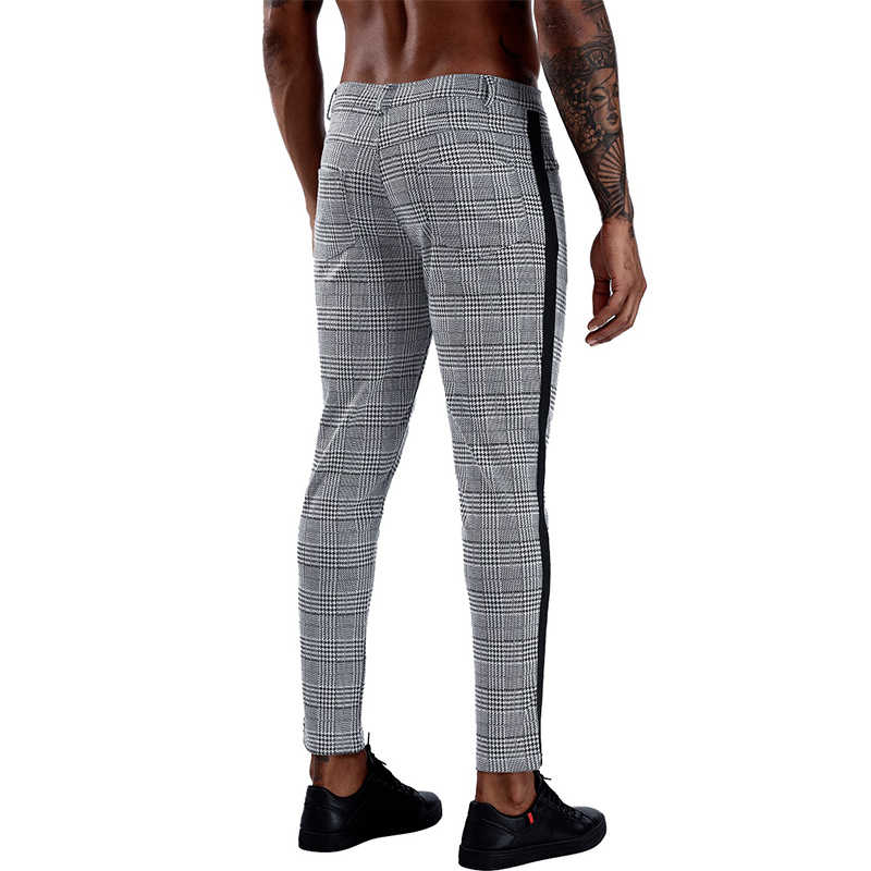 ブランドチェック柄弾性男性スキニーパンツ2020ボトムタイト男性パンツストリートスウェットパンツカジュアルジョギング男性パンツ