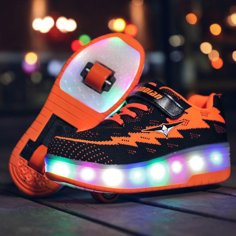 RISRICH Kids LED Roller Usb Charging Shoes Glowing Luminous Light Up Sneakers With Wheels Kids Rollers Skate Shoes For Boy Girls