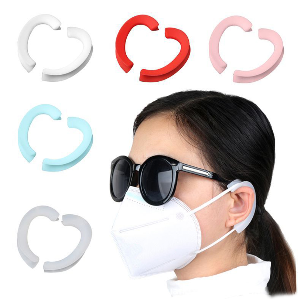 1Pair Silicone Face Mask Ear Hooks Cover Soft Reusable Anti-Slip Ear Protection Grips Mask Accessories For Sports Outdoor Tools