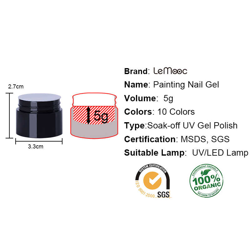Lemooc 5 Ml Embossment Gel 3D Emboss Menggambar Lukisan Gel Perak Emas DIY Rendam Off Gel Cat Seni Kuku Pernis