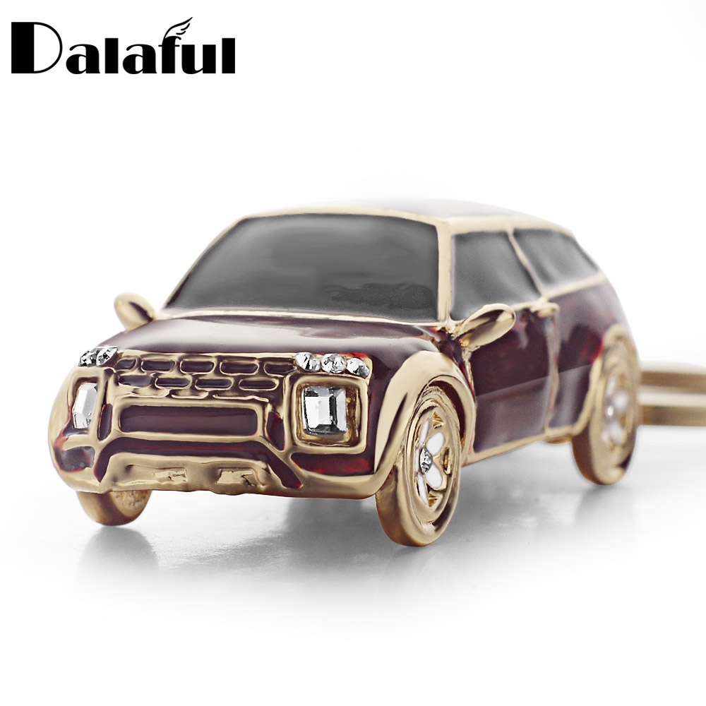 Dalaful Cool Ename Car Keyring Keychain Crystal HandBag Pendant Vivid Purse Bag Buckle Key Holder Rings Chains K318