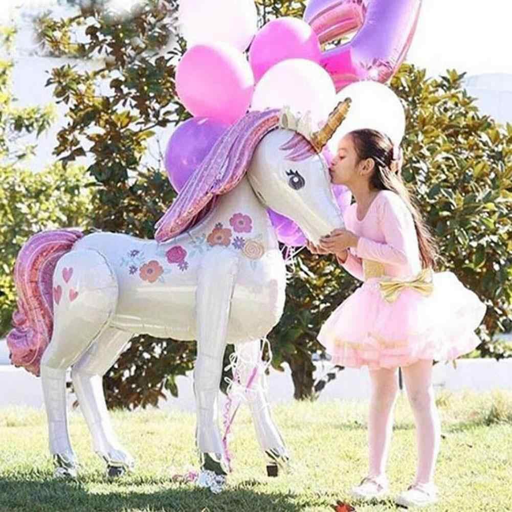 Unicorn Pesta Ulang Tahun Baloon Dekorasi untuk Anak-anak 3D Kartun Balon 116X106 CM Besar Berdiri Hewan Aluminium Foil Balon