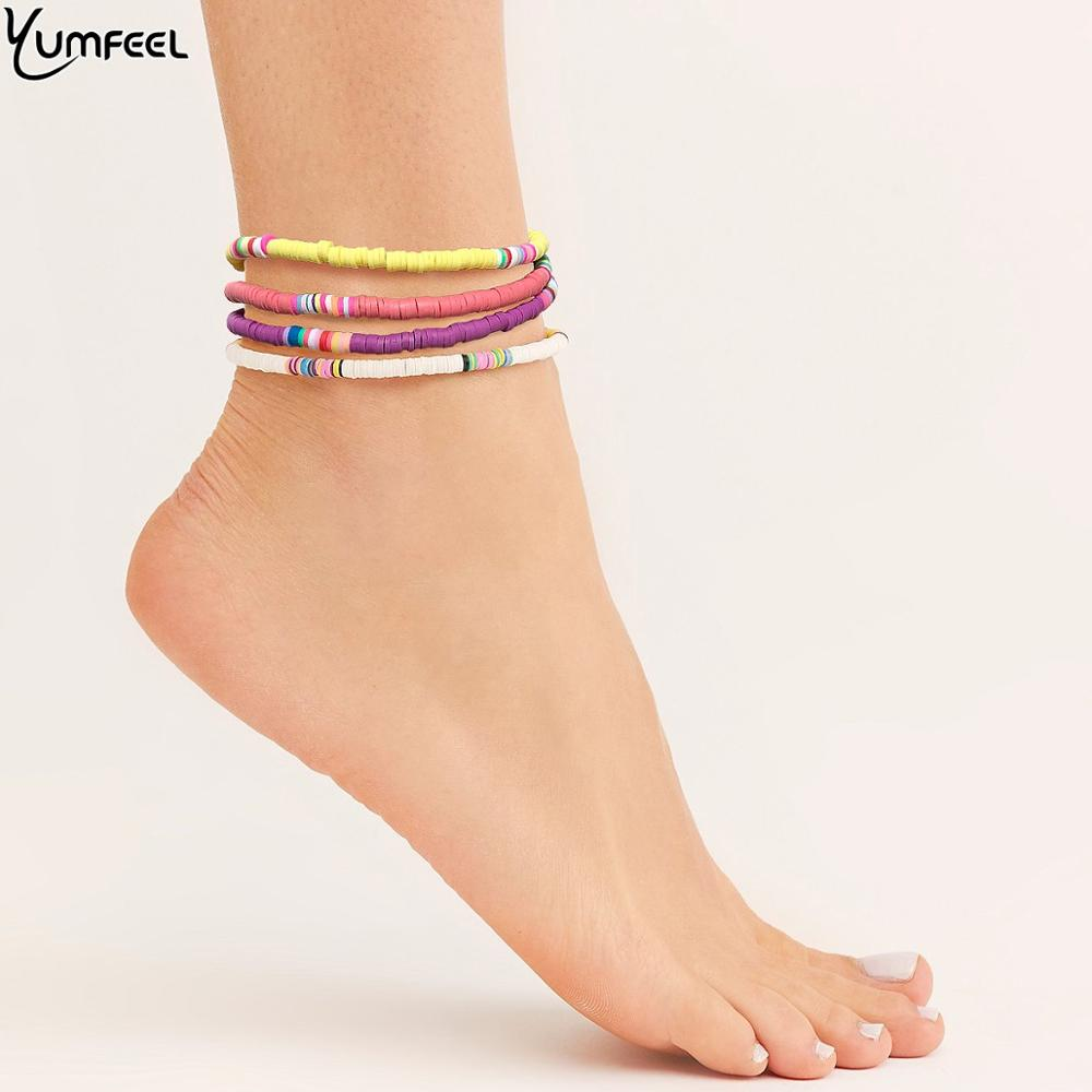 Yumfeel Brand New Handmade Polymer Clay Anklet Chains Female Simple Anklets Women Fashion Summer Beach Foot Jewelry