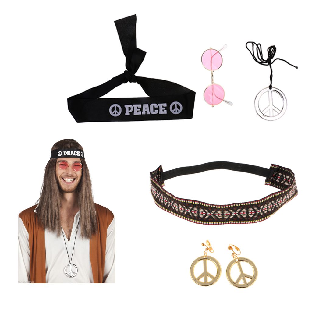 Hippie Costume Accessories Jewelry Set For Women And Men - Pack Of 5 Pieces