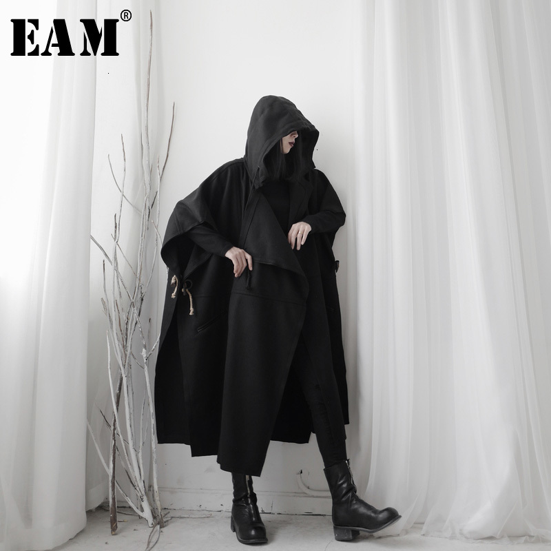 [EAM] Women Black Black Split Big Size Trench New Hooded Long Sleeve Loose Fit Windbreaker Fashion Spring Autumn 2020 19A-a629