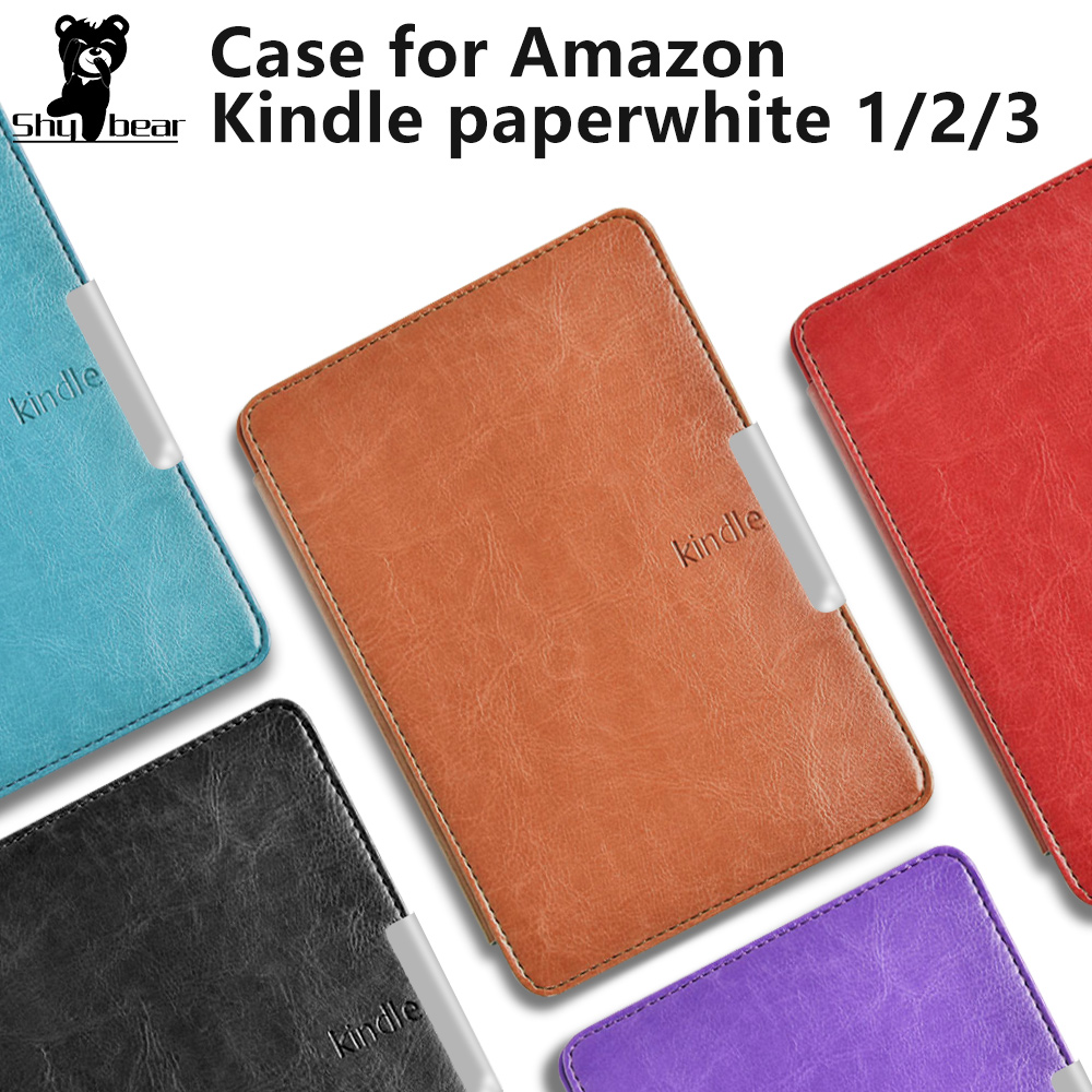 Leather Cover Case For  Amazon Kindle Paperwhite 1/2 3 Smart Cover Case With Hand Strap