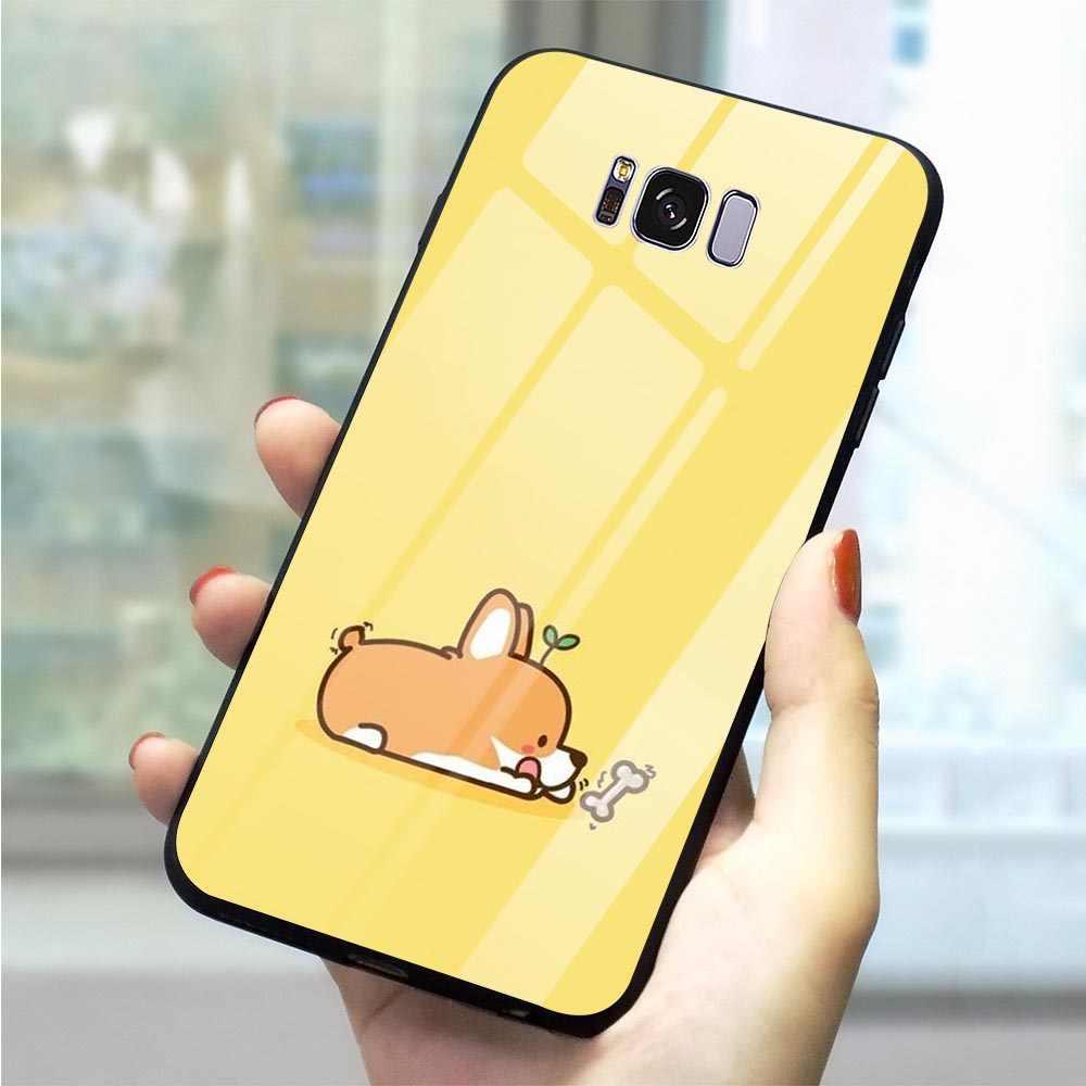 Милый чехол из закаленного стекла с мультяшным животным для Samsung Galaxy S7, чехол для телефона A40 A50 A60 M40 A70 Note 8 9