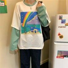 Женская футболка с имитацией двух частей свободная длинным рукавом