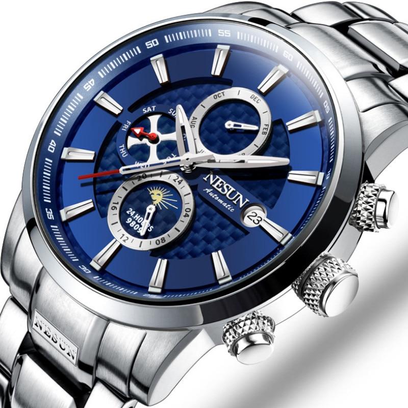 Nesun Original Brand Men Automatic Watches Sporty Design 3 Eyes Mechanical Wrist watch Moon Phase 316L Full Steel Watch Calendar