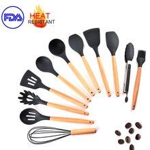 11 pçs conjunto de utensílios de cozinha silicone ferramentas de cozinha antiaderente cozinhar ferramentas de sopa concha utensílios de cozinha acessórios de cozinha utensílio de cozinha