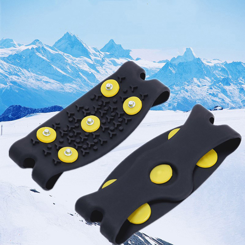1 Pair Anti Slip Ice Climbing Spikes Grips Crampon Cleats 5-Stud Black Shoes Cover Free Size Footwear Mountaineer Accessories