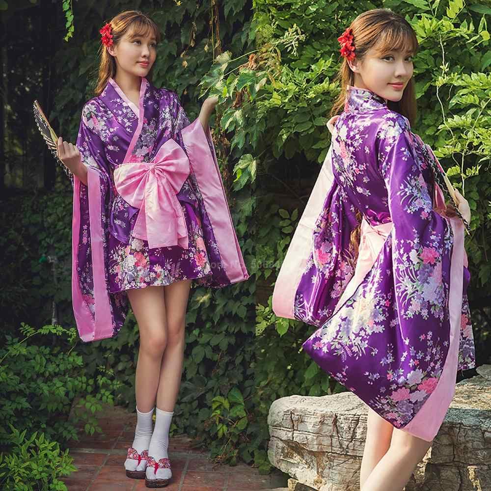 着物ドレスkwaii女の子ロリータ和風浴衣花柄弓ノットさくらガール羽織ファンシーセクシーなアニメコスプレ衣装