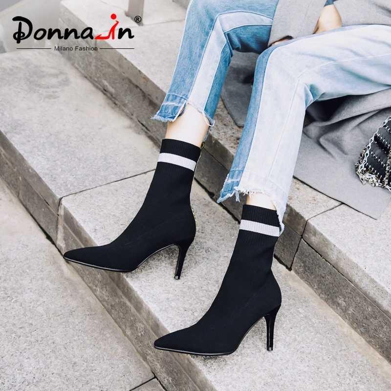Donna-in seksi süper ince yüksek topuklu çizmeler kadın sivri burun örgü streç kumaş kadın ayakkabı 2020 hakiki deri sonbahar için