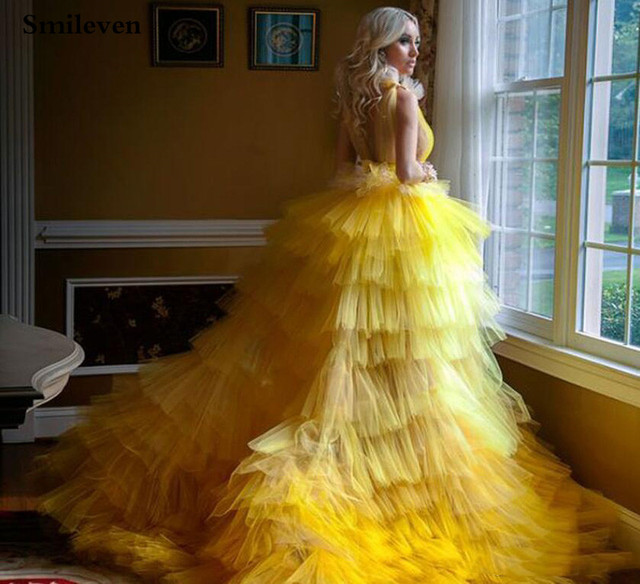 Smileven Princess Prom Gowns High Low Tiered Puff Tulle Long Evening Dress Deep V Neck Prom Party Dresses Custom Made 2