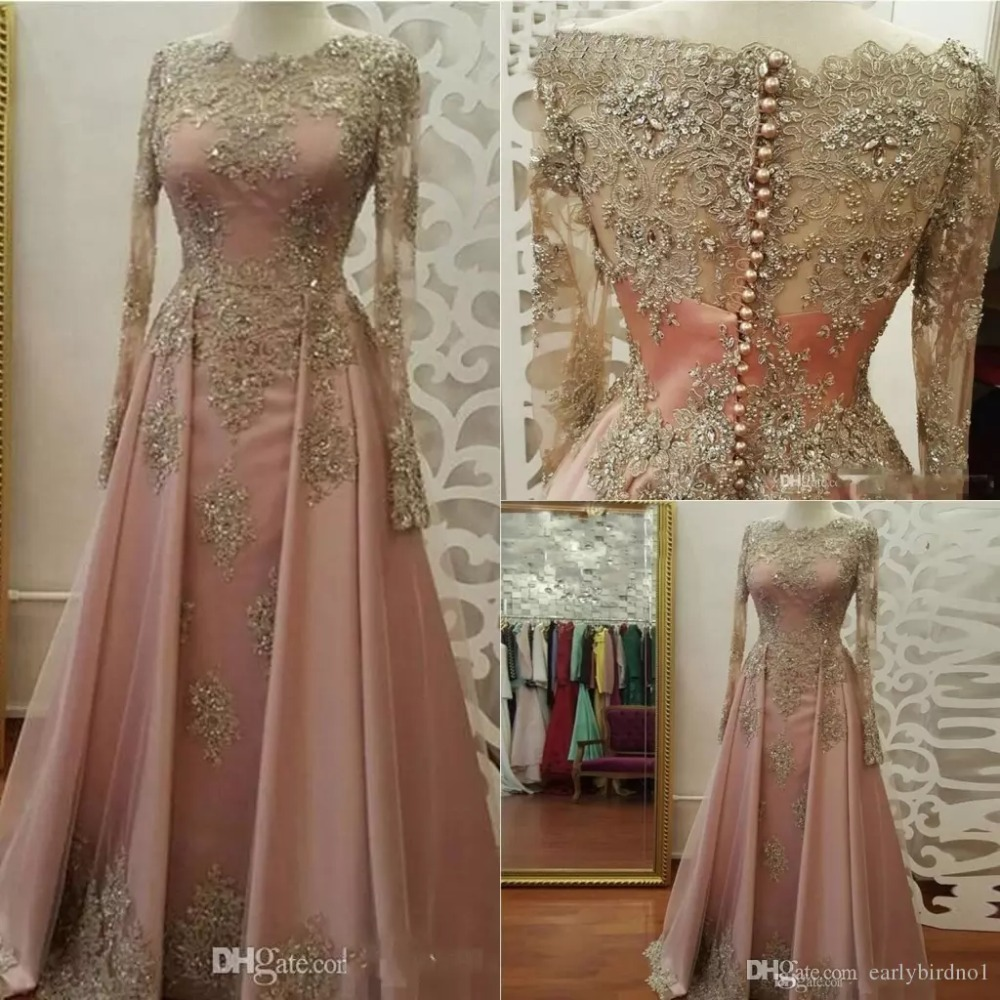 robe de soiree Long Sleeve Evening gown for Women elegant Lace Appliques Muslim Prom Party Gown 2020 <font><b>Mother</b></font> of the Bride Dresses image
