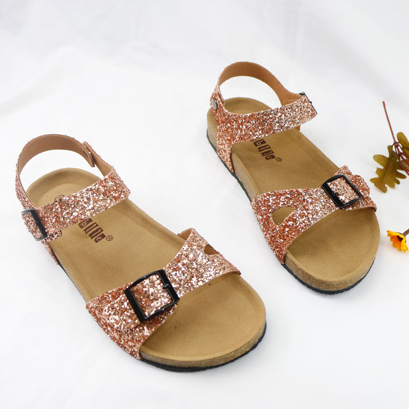 Shining Summer Kids Shoes Corks 2020 Fashion Leathers Sweet Children Sandals For Girls Toddler Baby Metallic Shoes Glitter