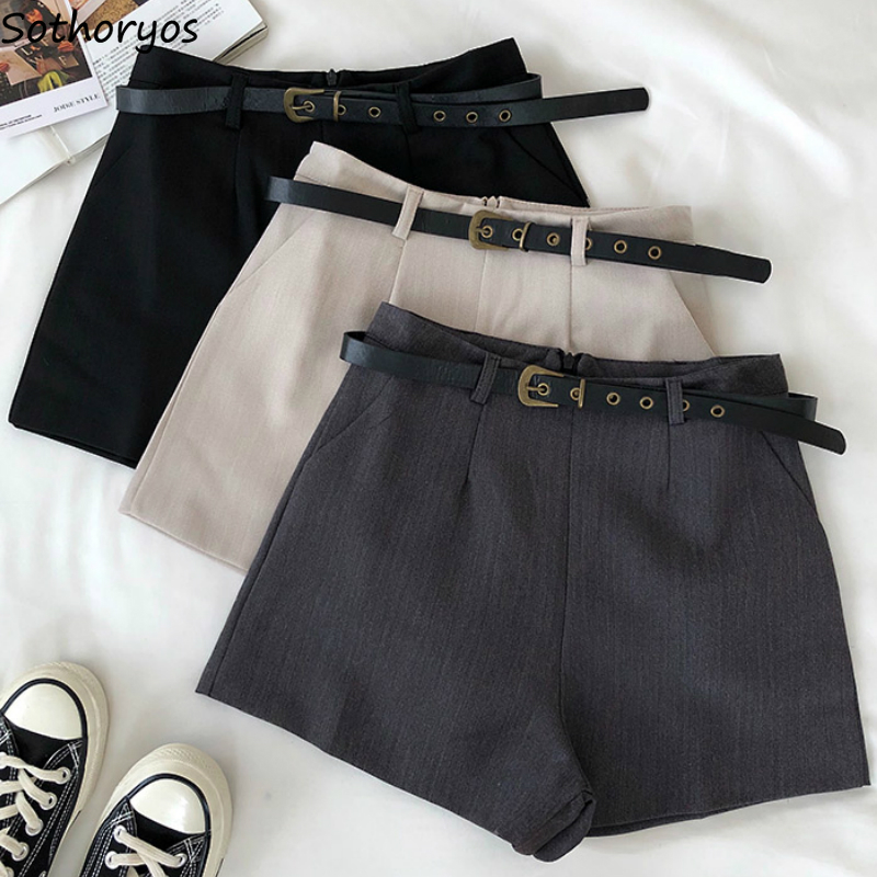 Shorts Women Solid Simple High Waist Skinny Summer Hot Sexy Wide Leg Trousers Womens Office Lady Leisure Stylish Korean Style