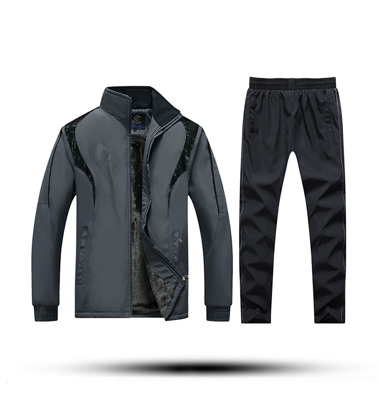 Men Thickening Plus Velvet Polyester Jacket Jacket+sports Pants 2-Piece Set Thick Running Outdoor Sports Suit