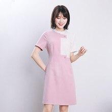 Salon uniform cosmetologist overalls summer pedicure technician working women short sleeve slim stretch dress