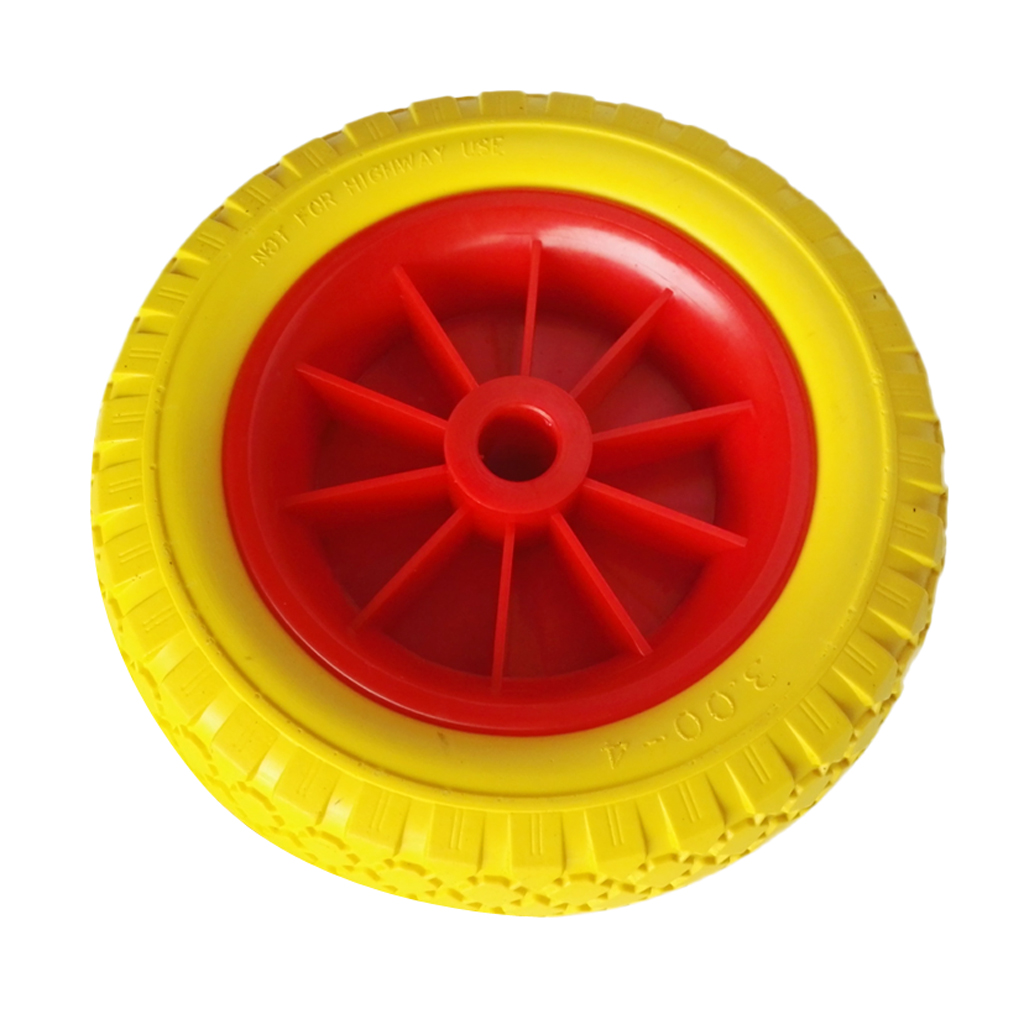1 Pair Of 25.4cm 22.35mm Durable Puncture Proof Rubber Tyre On Red Wheel For Kayak Trolley Cart Boat Trailer